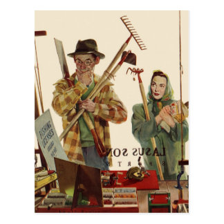 Vintage Husband and Wife with Gardening Tools Postcard