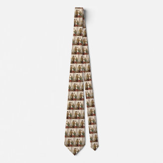 Vintage Husband and Wife with Gardening Tools Tie