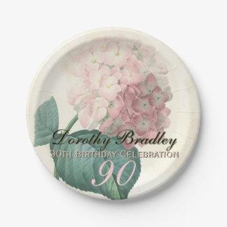 Vintage Hydrangea 90th Birthday Party Paper Plates