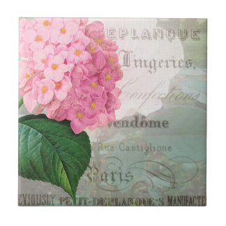 Vintage Hydrangea French Accent Ceramic Tile