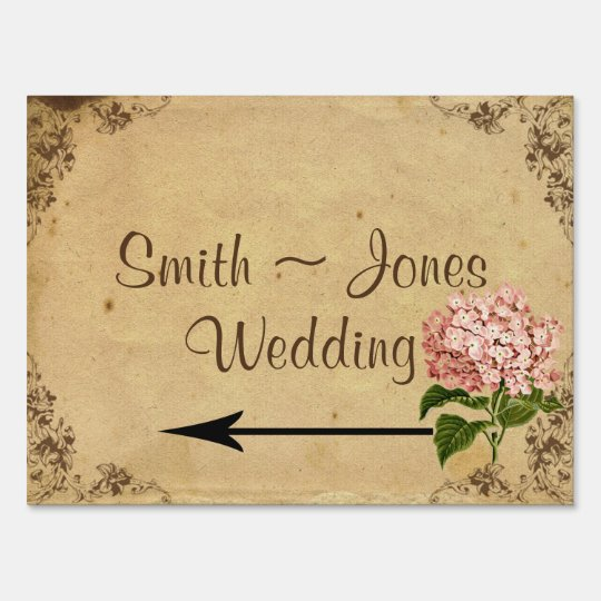 Vintage Hydrangea Wedding Direction Sign