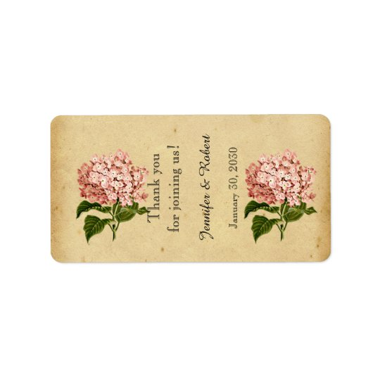 Vintage Hydrangea Wedding Lip Balm Label