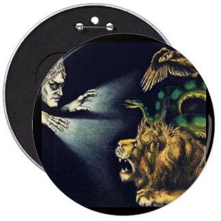 Vintage Hypnotism...man and a lion 6 Inch Round Button