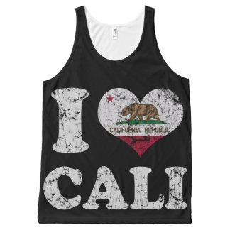 Vintage I Heart Cali California Flag All-Over-Print Tank Top