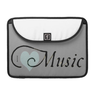 Vintage I Heart Music Cursive Typography Mug MacBook Pro Sleeve