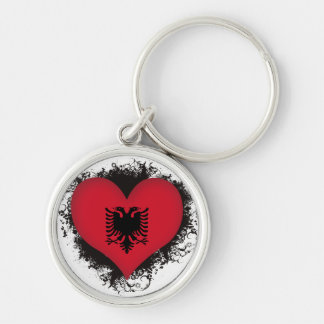 Vintage I Love Albania Silver-Colored Round Keychain