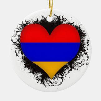 Vintage I Love Armenia Round Ceramic Ornament
