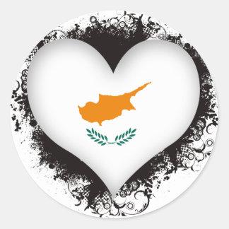 Vintage I Love Cyprus Classic Round Sticker