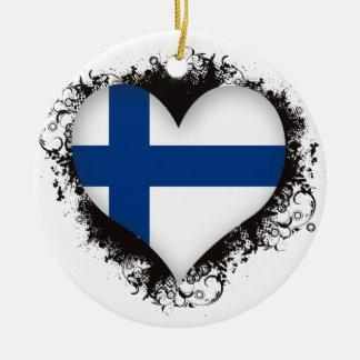 Vintage I Love Finland Ceramic Ornament