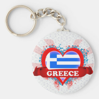 Vintage I Love Greece Basic Round Button Keychain
