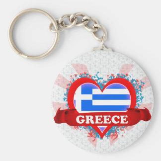 Vintage I Love Greece Basic Round Button Keychain