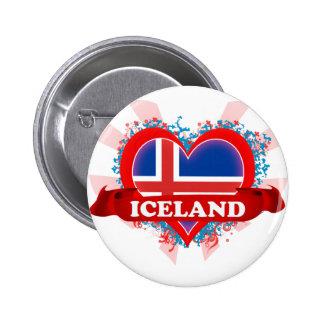 Vintage I Love Iceland 2 Inch Round Button