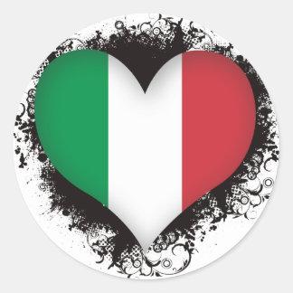 Vintage I Love Italy Classic Round Sticker
