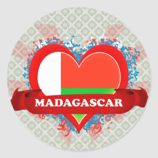 Vintage I Love Madagascar Classic Round Sticker