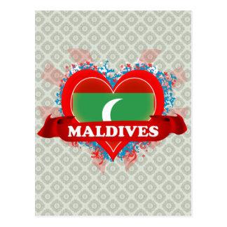 Vintage I Love Maldives Postcard