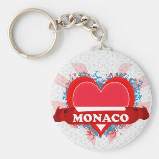 Vintage I Love Monaco Basic Round Button Keychain