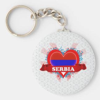 Vintage I Love Serbia Keychain