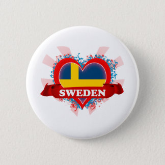 Vintage I Love Sweden 2 Inch Round Button