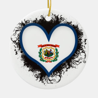 Vintage I Love West Virginia Ceramic Ornament