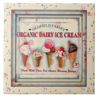 Vintage ice cream parlor sign ceramic tile