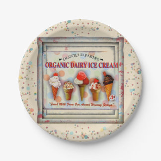 Vintage ice cream parlor sign paper plate