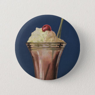 Vintage Ice Cream Shake, Whipped Cream & Cherry 2 Inch Round Button