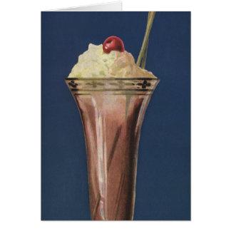 Vintage Ice Cream Shake, Whipped Cream & Cherry Greeting Card