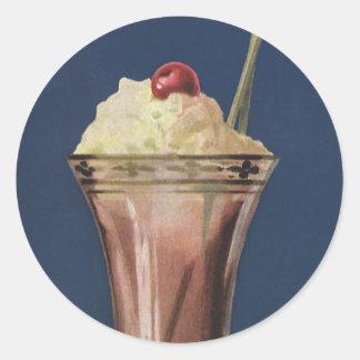 Vintage Ice Cream Shake, Whipped Cream & Cherry Round Sticker