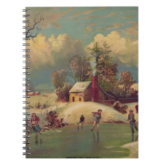 Vintage Ice skating Scene Notebook