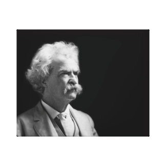 Vintage Iconic Mark Twain Black and White Canvas Print
