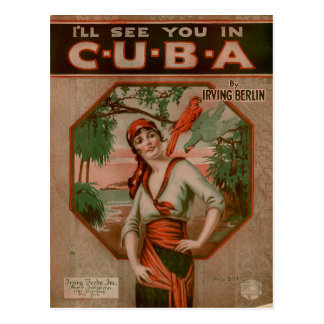 Vintage I'll See You in Cuba Travel Postcard