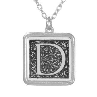 Vintage Illuminated Monogram Letter D Necklace