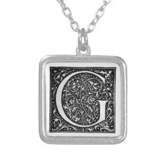 Vintage Illuminated Monogram Letter G Necklace