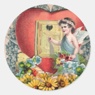 Vintage Illustrated Art Round Sticker