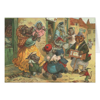 Vintage illustrated card - an Animal Neighbourhood