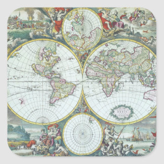 Vintage illustration antique world map by Frederic Square Sticker