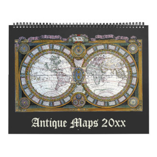 Vintage Illustration Antique World Maps Wall Calendar