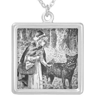 Vintage Illustration Black White Riding Hood Wolf Silver Plated Necklace