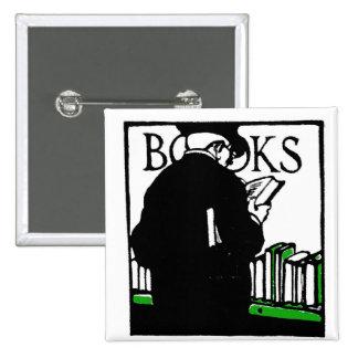 Vintage Illustration 'Books' Reading 2 Inch Square Button