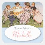 Vintage illustration children's bookplate square sticker