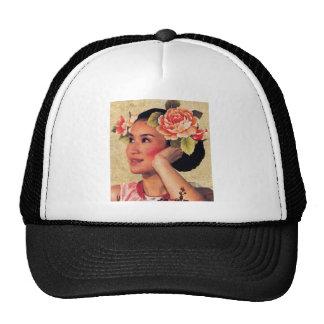 Vintage Illustration Chinese Woman Trucker Hat