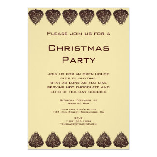 Vintage Illustration Christmas Tree Pattern, Brown Card