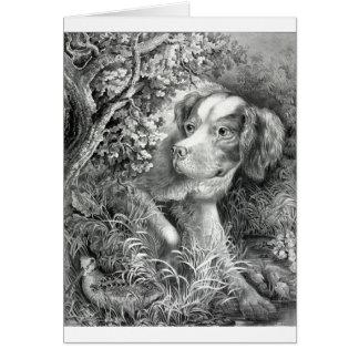 Vintage Illustration - Dog on the Hunt, Card