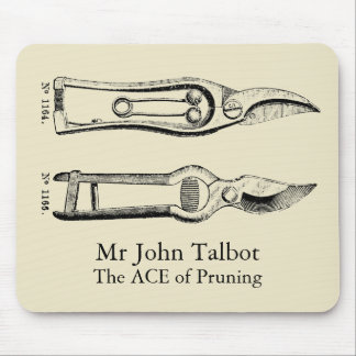 Vintage Illustration Gardening Tools Pruners Mpad Mouse Pad