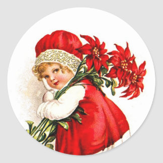 Vintage Illustration Girl Carrying Poinsettias Classic Round Sticker