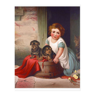 Vintage Illustration Girl with Puppies and Cat Postcard