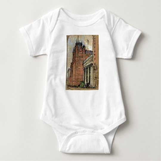 Vintage Illustration Historic Buildings New York Baby Bodysuit