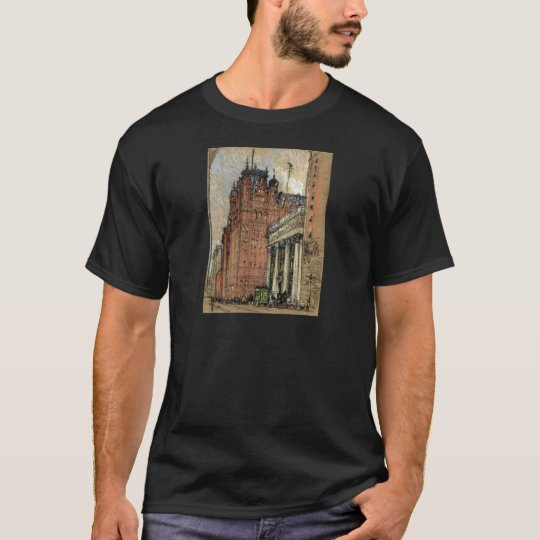 Vintage Illustration Historic Buildings New York T-Shirt