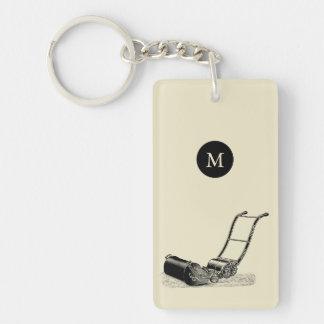 VINTAGE ILLUSTRATION Lawn Mower Monogram 2sided K Double-Sided Rectangular Acrylic Keychain