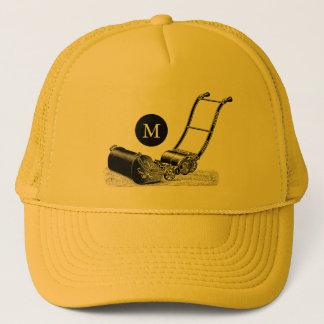 VINTAGE ILLUSTRATION Lawn Mower Monogram Hat